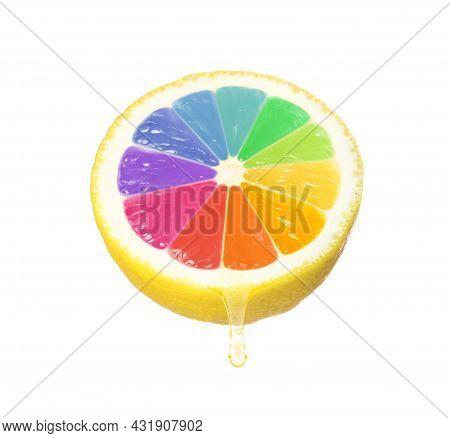 Half Of Fresh Lemon With Rainbow Segments On White Background. Brighten Your Life