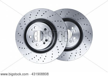 Two Car Brake Disc Isolated On White Background. Auto Spare Parts. Perforated Brake Disc Rotor Isola