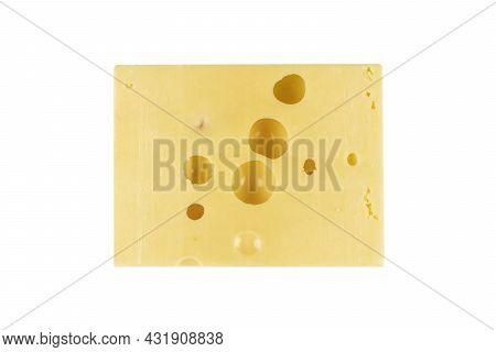 Maasdam Cheese Block Isolated On White Background With Clipping Path. Closeup View Of A Piece Of Maa