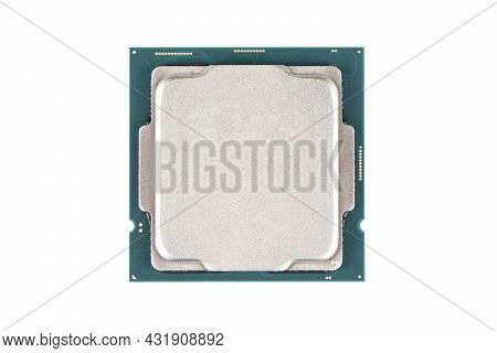Top View Computer Processor Isolated On White Background. Cpu. Central Processor Unit. Computer Hard