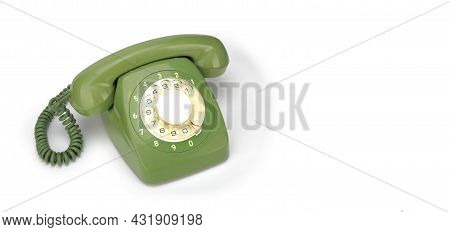 Vintage Phones - Green A Retro Telephone On A White Background.