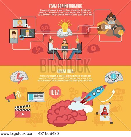 Team Brainstorming Work For Creating Idea And Great Idea Metaphor Banners Flat Vector Illustration