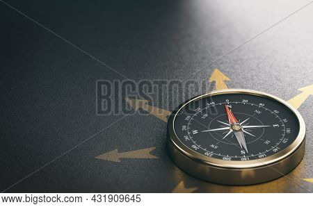 3d Illustration Of A Golden Compass Over Black Background With Copy Space On The Left. Strategic Bus