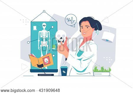 Woman Anthropologist With Ancient Skull Vector Illustration. Scientist Explore Human Part Flat Style