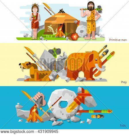Prehistoric Stone Age Caveman Banners In Cartoon Style With Man And Woman In Animal Skin Labor Tools