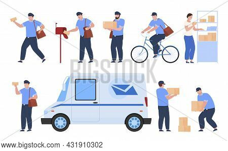 Collection Postman Delivery Parcel Vector Illustration Postal Workers Envelope, Box, Package