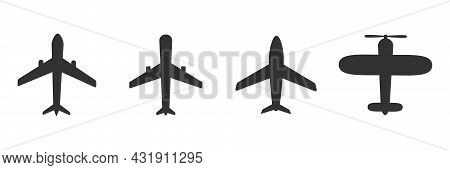 Airplanes Icon Set. Black Plane Silhouette Collection. Travel Symbol. Vector Illustration Isolated O