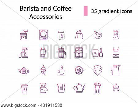 Barista And Coffee Accessories Glyph Icons Set. Coffee Shop Professional Tools. Coffee Beans. Profes
