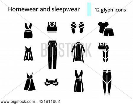 Comfy Garment Glyph Icons Set. Homewear And Sleepwear. Comfortable Clothes. Bathrobe, Domestic Dress