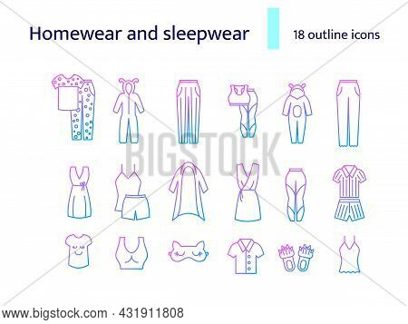Comfortable Domestic Clothes Outline Icons Set. Homewear And Sleepwear. Comfy Garment. Purple Gradie