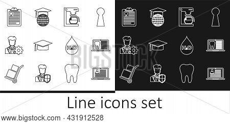 Set Line Laptop With Resume, Dental Card, Coffee Machine Pot, Graduation Cap, Profile Settings, Clip