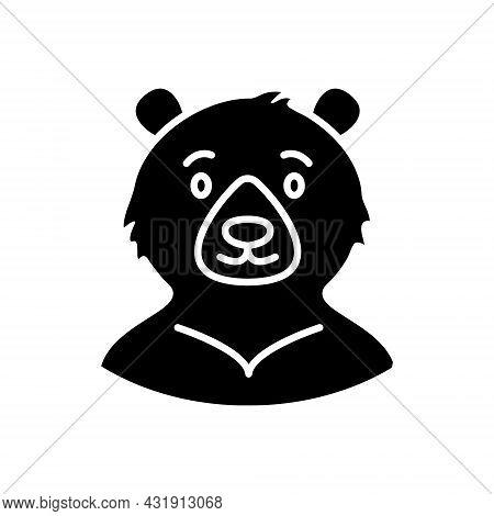 Formosan Bear Glyph Icon. Taiwanese Endemic Animal. Oriental Custom. Asian Item. Black Filled Symbol