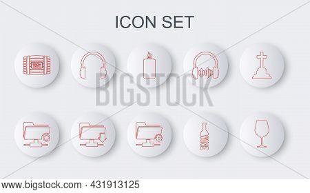 Set Line Wine Glass, Ftp Sync Refresh, Burning Candle, Bottle Of Wine, Wooden Barrel For, Headphones