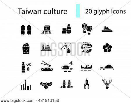 Taiwan Glyph Icons Set. Taiwanese Famous Buildings. Buddha, Pagoda And Bridge. Black Filled Symbol.