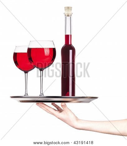 Glass Of Red Wine On A Silver Tray