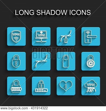 Set Line Password Protection, Shield With Vpn Wireless, Heart Keyhole, Cloud Interface, Bezier Curve