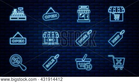 Set Line Remove Shopping Cart, Price Tag With New, Market Store, Online, Hanging Sign Open Door, Cas