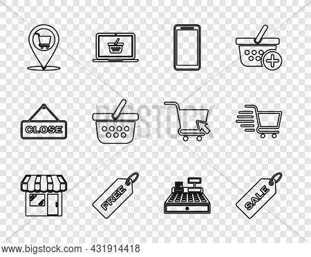 Set Line Market Store, Price Tag With Sale, Smartphone, Mobile Phone, Free, Location Shopping Cart,