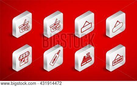 Set Line Hanging Sign With Close, Shopping Basket Check Mark, Signboard Hanging, Cash Register Machi