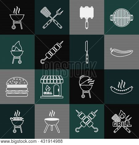Set Line Crossed Fork And Spatula, Sausage, Hot Chili Pepper Pod, Barbecue Steel Grid, Grilled Shish