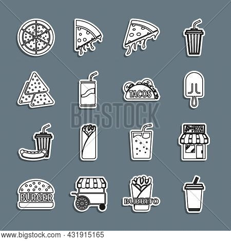 Set Line Glass With Water, Pizzeria Building Facade, Ice Cream, Slice Of Pizza, Soda Can Drinking St