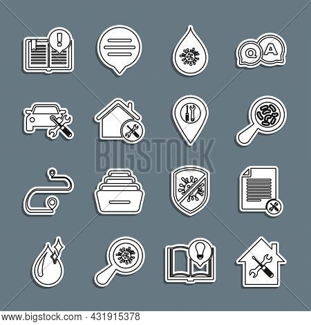 Set Line House Service, File Document, Microorganisms Under Magnifier, Dirty Water Drop, Car, Intere