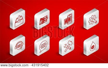 Set Line Dirty Water Drop, Office Folders, Smartphone And Book, Wrench Gear, Crossed Hammer Wrench,