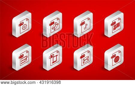 Set Line Html File Document, Msg, Mp3, Doc, Eml, Dll, Js And M3u Icon. Vector