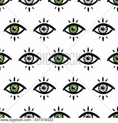 Doodle Mystical, Magical  Green Eyes Vector Seamless Pattern Background For Magic, Vision, Intuition
