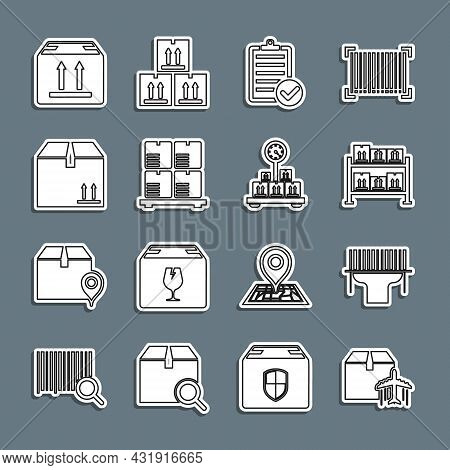 Set Line Plane And Cardboard Box, Scanner Scanning Bar Code, Warehouse, Verification Of Delivery Lis