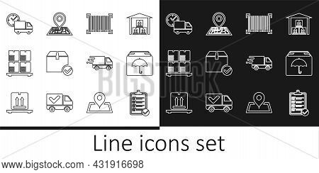 Set Line Verification Of Delivery List, Delivery Package With Umbrella, Barcode, Package Box Check M