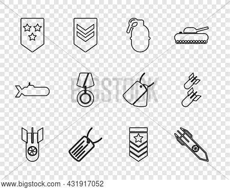 Set Line Nuclear Bomb, Rocket, Hand Grenade, Military Dog Tag, Chevron, Reward Medal, And Aviation I