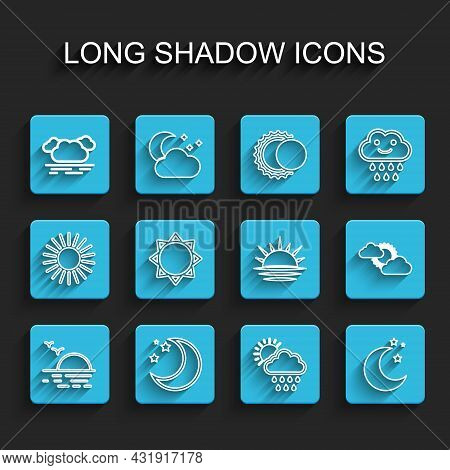 Set Line Sunset, Moon And Stars, Cloud, With Rain Sun, Cloud Weather And Icon. Vector