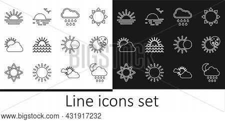 Set Line Cloud With Rain And Moon, Eclipse Of The Sun, Sunset, Cloud Weather, And Icon. Vector