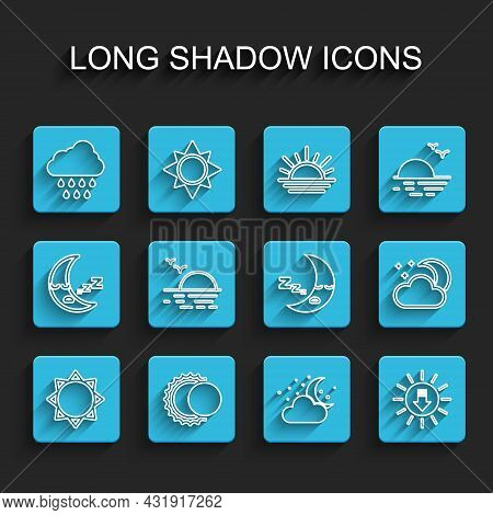 Set Line Sun, Eclipse Of The Sun, Cloud With Rain, Moon And Stars, Sunset, And Moon Icon Icon. Vecto