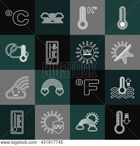 Set Line Meteorology Thermometer, Water, Sun And Snowflake, Thermometer Cloud, Moon, Celsius And Uv