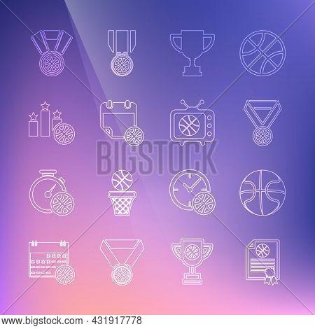 Set Line Certificate Basketball Award, Basketball, Medal, Award Cup, On Sport Calendar, Sports Winne