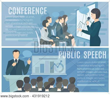 Public Speech To Live Audience And Successful Conference Presentations 2 Flat Banners Composition Po