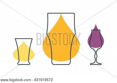 Three Glasses With Beer, Tequila And Liquor. Shot Glass Drinks. Template Alcohol Beverage For Restau