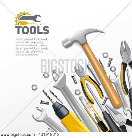 Carpentry Construction And House Renovation Tools Realistic  Composition Background Poster With Hamm