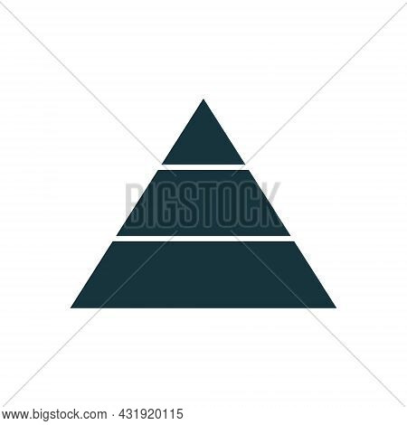 Pyramid Infographic Template With 3 Charts. Business Concept. Black Triangle Data Segments. Hierarch