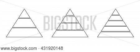 Pyramids Line Icon Set For Infographics. Triangles Outline With 3, 4, 5 Levels. Hierarchy Design Gra