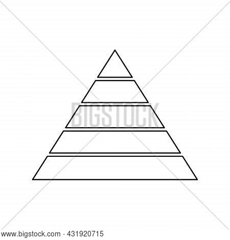 Pyramid Line Icon For Infographics. Triangle Outline With 5 Levels. Hierarchy Design Graphic Element