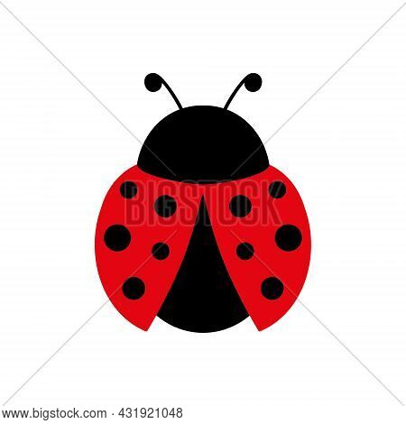 Ladybug Cute Character. Ladybird Insect With Open Wings. Vector Isolated On White