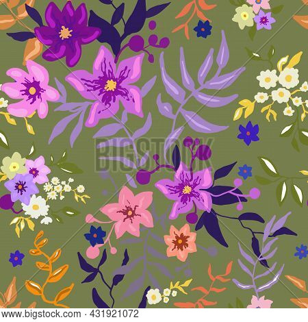 Tropical Floral Pattern. Colorful Graphic Floral Vector Seamless Pattern On A Green Background. Styl