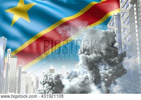 Large Smoke Pillar In The Modern City - Concept Of Industrial Catastrophe Or Terroristic Act On Demo