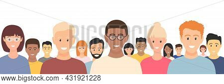 Multicultural People Crowd. Diverse Business Men And Women Group. Flat Multinational People Characte