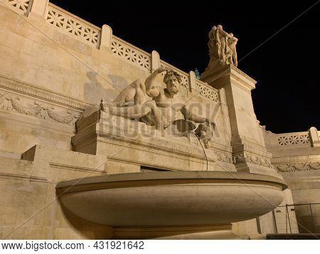 Rome, Italy - October 16, 2011 - Piazza Venezia In The Center Of Rome At Night.