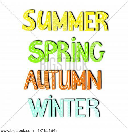 Colorful Seasons Icons Summer Autumn Winter Spring Text