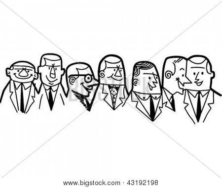 Group Of Businessmen - Retro Clip Art Illustration